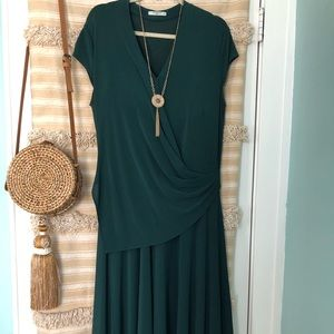 MM LaFleur - dark green mid calf length dress